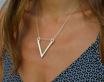 Silver v pendant, chalice necklace, symbolic shapes, silver necklace, silver jewellery, viking style, tribal