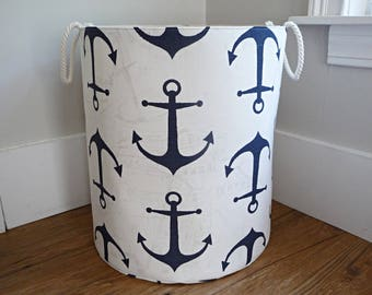 "Extra Large Hamper, Fabric Storage Laundry Basket, Premier Prints Anchor Slub Navy Organizer, Toy or Nursery Basket, Storage Bin - 20"" Tall"