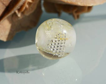 Glass bead lampwork, silver mesh, artist, necklace - pendant, design by Kokopella