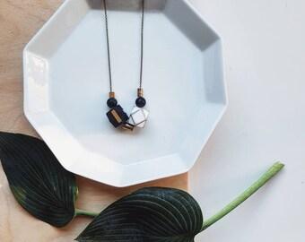 Evie Necklace   Geometric Beads   Black & White