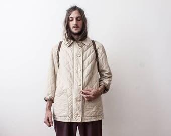 Burberrys' Beige Quilted Jacket 80s Designer Luxury Rain Jacket Vintage Veste Femme Burberry