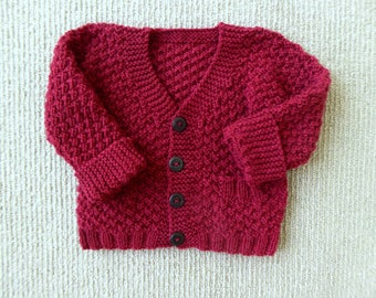 MADE to ORDER Red baby boy sweater, hand knit baby clothing, hand knitted baby gift, 3 months