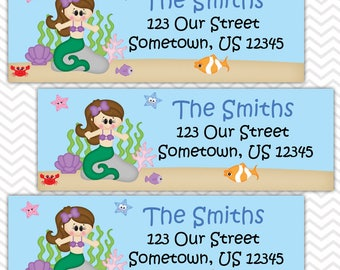 Under the Sea Princess - Little Mermaid - Personalized Address labels, Stickers, Baby Shower, Birthday