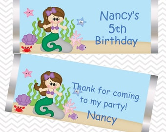 Under the Sea Princess - Little Mermaid - Personalized Candy Bar Wrapper, Birthday, Baby Shower