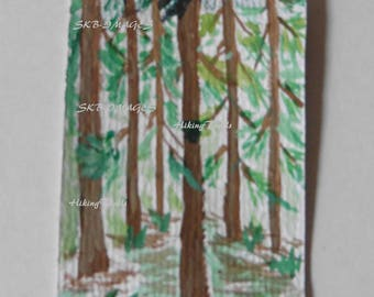Hand Painted- ACEO Card, Forest watercolor, Miniature painting, Artist trading card, woodland style, forest wall art, Fine Art Watercolor