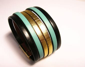 cuff black Mint and gold leather with magnetic clasp