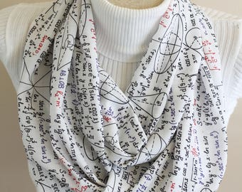 Mathematics Scarf, Mathematics Infinity Scarf, White Infinity Scarf, Woman Scarf, Men Scarf, Summer Scarf, Loop Scarf, Gift Ideas, Geometry