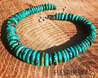 Graduated Turquoise Disk Necklace, Statement Necklace