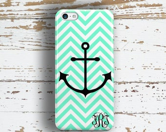 Teen fashion, Cute iPhone 6 case, Anchor iPhone 4s case, Mint chevron Iphone 5c case, Monogram Iphone 5 case, Girl's Fashion accessory(9960)