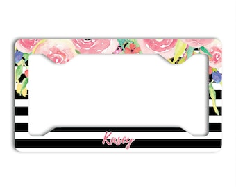 Black stripe with pink flowers, Floral license plate cover or frame with monogram, Unique housewarming gift, Your name or initials (1777)