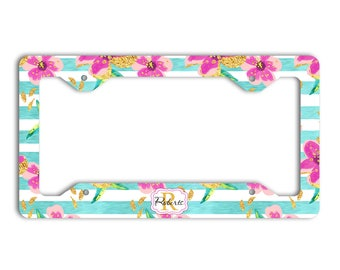 Stripes license plate frame with name, Blue and pink, Faux gold foil flowers, Gift for new mother, Pink car accessories, Gift for her (1791)