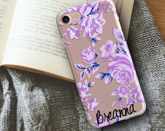 iPhone 7 Plus case, iPhone 6s case, TPU case, iPhone 6 Plus Case, iPhone 5 Case, iPhone SE Case, Purple roses, Pretty gift for her (1820)