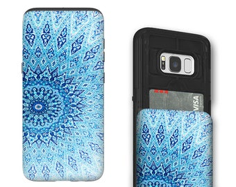 Blue Mandala Galaxy S8 Card holder Case - Credit Card Wallet Case for Samsung Galaxy S8 with Rubber Sides by Da Vinci Case