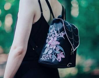 Black Leaf Mini Backpack, Embroidered Bag, Waterproof Backpack, Small Bag, Toddler Backpack, Waterproof Bag, Leaf Bag, Flower