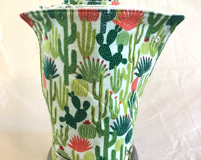 Unpaper towels, Roll of 12 cactus cotton terry cloth kitchen towels, Snap together towels, cotton napkins, Cacti Reusable paper towels