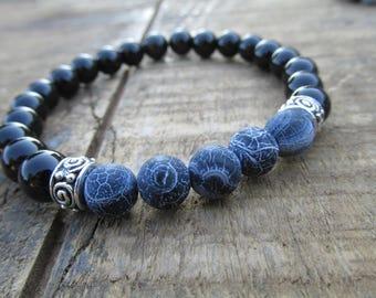 Men's Bracelet - Men's Jewelry - Gemstone Bracelet - Black Bracelet - Stretch Bracelet - Men's Bead Bracelet - Bracelets for Men - M2630
