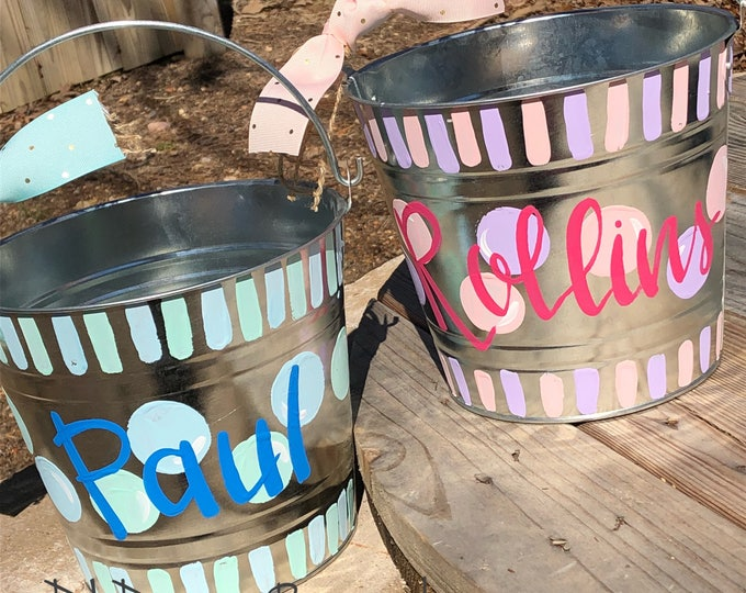 Personalized metal Easter bucket