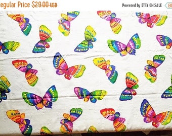 ON SALE Vintage, 1970's, Psychedelic Neon Butterfly Fabric, Lory Fabrics Inc, Textured Cotton Blend, Green, White, Purple, Yellow, Red, Blue