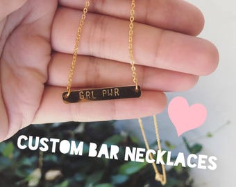 Custom Handstamped Bar Necklace in Gold and Rose Gold