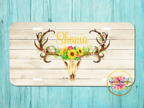 Sunflowers Deer Antlers Rustic Boho License Plate Frame