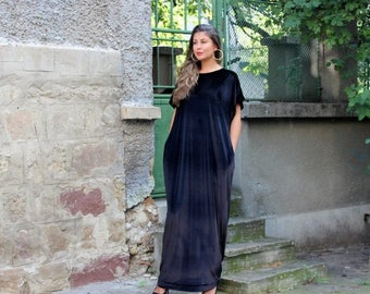 SALE ON 20 % OFF Black Maxi dress/ Velvet dress/ Long dress/ Plus size dress/ Caftan/ Elegant dress/ Velvet dress/ Long maxi dress