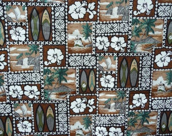Hawaiian print fabric, surf boards, Hibiscus, landscapes, brown and white