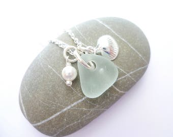 clam shell necklace - sea glass necklace - sea glass jewellery - beach jewellery