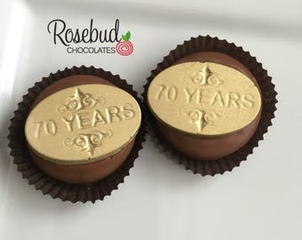 70th Birthday Party Favors Chocolate Covered Oreos Cookies Candy Dessert Table Decor Gold Decorations Seventies Seventieth 70 Theme