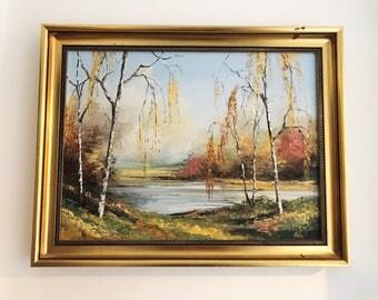 REDUCED Vintage Alan King Akin of Malvern Original Framed Oil Painting 'Autumn Birch Trees' Landscape