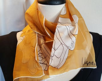 Silk Scarf Long / VERA NEUMANN Chiffon / Gold White Brown Floral / Hand Rolled / Vintage Vera / Long Gold Scarf / Outstanding