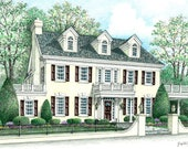 RESERVEDListing for L Mercer Custom Home Portrait- 5x7 Full Color in 8x10 frame Original Your My Home Sketch Drawing   Closing Gifts