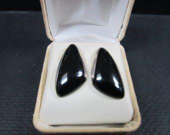 Mexican Black Onyx sterling silver earrings