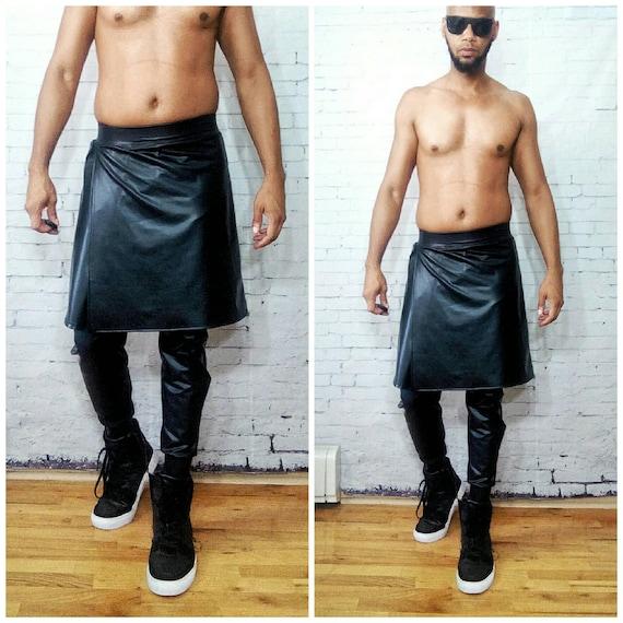 Coated Jersey LatexFaux Leather Kilt and jogger Burning man Burningman edm