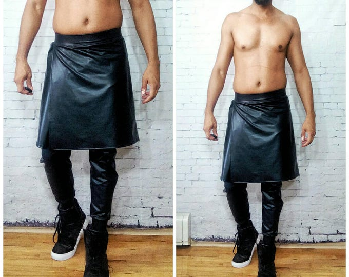 Coated Jersey LatexFaux Leather Kilt and jogger Burning man Burningman edm