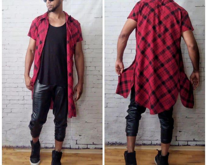 Enlongated Bias Red Plaid Button Shirt Flannel Shortsleeve Long Sides Split Skater Punk Rock and Roll Hip