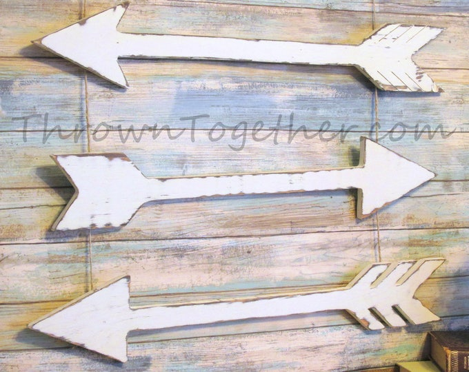 Wood Arrow Wall Decor, White Handmade Arrows, Rustic Arrow Decor, Farmhouse Wall Decor, Distressed Wooden Arrows, Rustic Home Decor