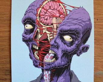 Split head zombie - A5 postcard print