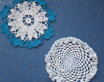 Vintage Blue Crochet Doily Lot Doilies Lot of 2 Handmade Doily Tabletop Doily Cotton Doily Round Doilies