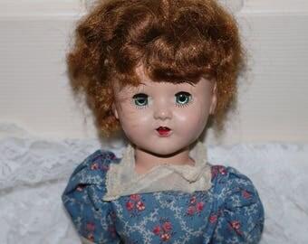 "Vintage Horsman Doll - ""Cindy"" - Hard Plastic - Marked #160  - 16 Inch - Period Clothing - Walker - No Shoes or Socks"