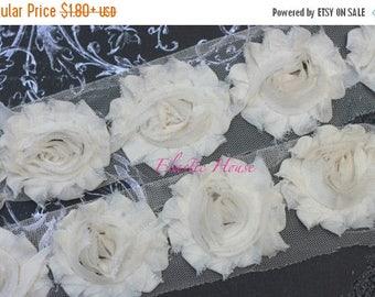 "Summer SALE 10% OFF 2.5"" Shabby Rose Trim - Cream/Ivory Color - Chiffon Trim - Hair Accessories  Supplies"