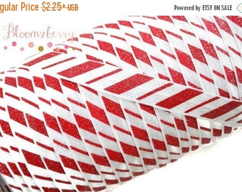 "Summer SALE 10% OFF 5/8"" PRINTED Fold Over Elastic - Glittery Candy Crane Stripe - Winter/Christmas/Holidays/Party - Glittery Elastic- Hair"