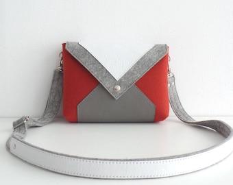 Terracotta Gray White Wool Felt Genuine Leather Crossbody Bag