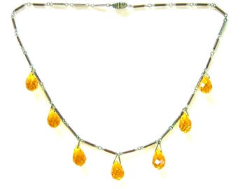 ART DECO Golden Faceted Crystal Drops Vintage Necklace  circa 1930