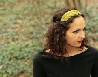 Tiara / headband in lichen green leaves