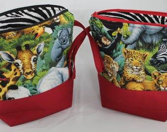 """Wild Animals- Sew Sarandipity Small Knitting Project Bag 9""""x 9"""" x 4""""  w/ Zipper, Wrist Strap, Roll Top, Flat Bottom, Lined, Lightly Quilted"""