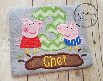 Peppa Pig & George Pig Muddy Puddle Birthday Custom Tee Shirt - Customizable -  Infant to Youth 162