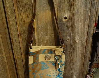 Acid wash cow hide cross body purse