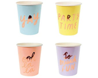 Rose Gold So Much Fun Pastel Cups - metallic copper paper cups birthday
