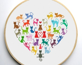 Heart and Cats 2 cross stitch pattern - Instant Download PDF