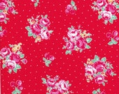 Pink Rose Cluster - Pink Flowers - Cherry Fabric - Polka Dots - Red Fabric - Flower Sugar Berry Fabric - Lecien Fabric